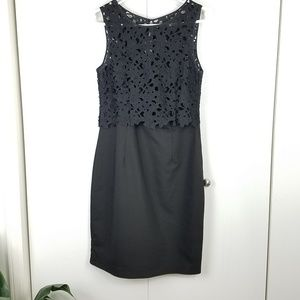 H&M black shift dress with lace top size 10